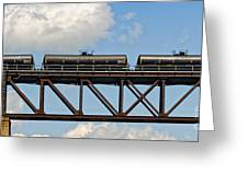 Train Cars On The Bridge Greeting Card
