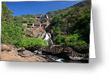 Train Crossing Dudhsagar Falls Greeting Card