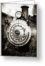 Train Face Greeting Card by John Rizzuto