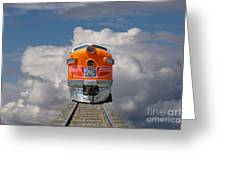 Train In Clouds Greeting Card