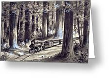 Train In The Redwoods Greeting Card