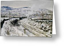 Train In The Snow At Argenteuil Greeting Card