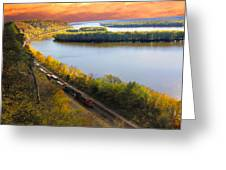 Train Mississippi River Sunset Greeting Card