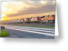 Train On The Tracks Greeting Card