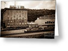 Train Passes Station Square Pittsburgh Antique Look Greeting Card