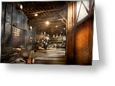 Train - Ready In The Roundhouse Greeting Card by Mike Savad