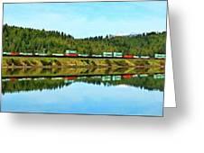 Train Reflecting Greeting Card
