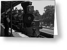 Train Ride Magic Kingdom Black And White Greeting Card