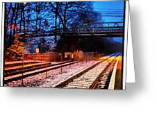 Train Station First Snow Greeting Card