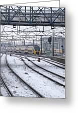 Train Station Zwolle In Winter Netherlands Greeting Card