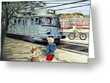 Train Stop At The Diner Greeting Card by Chris Dreher