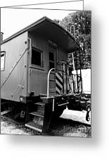 Train - The Caboose - Black And White Greeting Card by Paul Ward