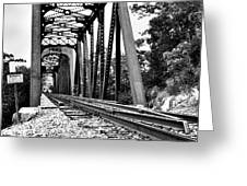 Train Trestle In B/w Greeting Card