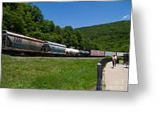 Train Watching At The Horseshoe Curve Altoona Pennsylvania Greeting Card