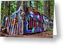 Train Wreck Art In The Forest Greeting Card