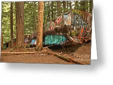 Train Wreck Canvas Among The Trees Greeting Card