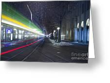 Tram At Night In Zurich Bahnhofstrasse Greeting Card