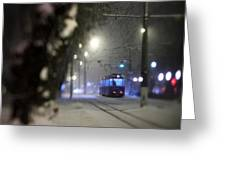 Tram On The  Street 3 Greeting Card