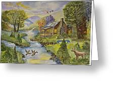 Tranquil Log Cabin Greeting Card