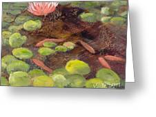 Tranquil Moments-rectangle With Gold Leaf By Vic Mastis Greeting Card
