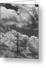 Transmission Tower In Storm Greeting Card