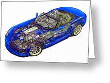 Transparent Car Concept Made In 3d Graphics 1 Greeting Card