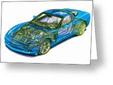 Transparent Car Concept Made In 3d Graphics 11 Greeting Card