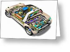 Transparent Car Concept Made In 3d Graphics 2 Greeting Card