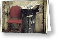 Trash And Chair Asking Please Take Me Home Greeting Card by Victoria Herrera