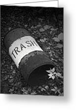 Trash Can Greeting Card