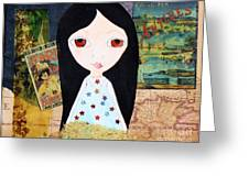 Traveling Little Girl Greeting Card