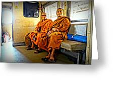 Traveling Monks Greeting Card