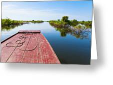 Traveling Through Tonle Sap Lake Greeting Card