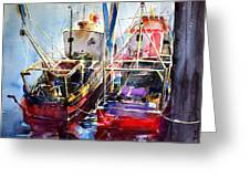 Trawlers In Early Light Greeting Card