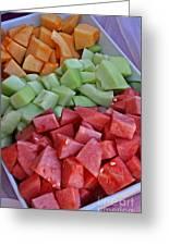 Tray Of Melon Chunks Art Prints Greeting Card