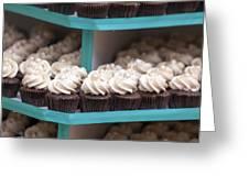 Trays Of Cupcakes Closeup Greeting Card