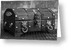 Treasure Chest In Black And White Greeting Card