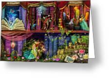 Fairytake Treasure Hunt Book Shelf Variant 4 Greeting Card