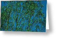 Tree Abstract Blue Green Greeting Card