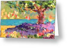 Tree And Flowers By The Water Greeting Card