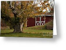 Tree And Red Barn Greeting Card