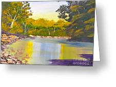 Tree Lined River Greeting Card