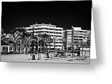 Tree Lined Seafront Promenade And Beach Salou Catalonia Spain Greeting Card