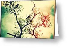 Tree Of Crows II Lights Greeting Card