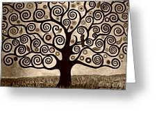 Tree Of Life In Sepia Greeting Card