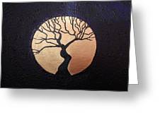 Tree Of Life Purple With Gold Moon Greeting Card