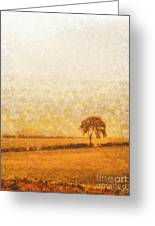 Tree On Hill At Dusk Greeting Card by Pixel  Chimp