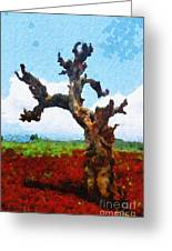 Tree On Red Land Painting Greeting Card