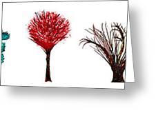 Tree Paintings In Wax Greeting Card