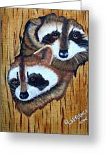 Tree Raccoons Greeting Card